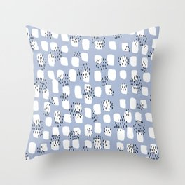 Spotted series messy abstract dashes blue black and white raw paint spots Throw Pillow