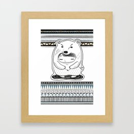 indie pattern bear Framed Art Print