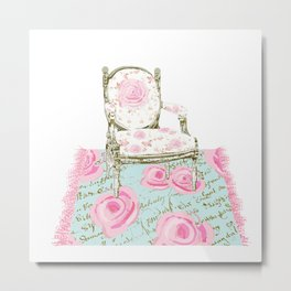 Shabby Chic Rug and French Chair Metal Print