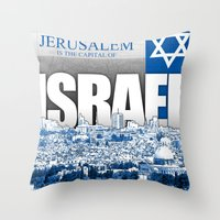 israel Throw Pillows featuring Jerusalem, Israel by politics