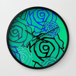 Field of Roses Flower Pattern Bouquet Art Print Wall Decoration Contemporary Wall Graphic Design Wall Clock