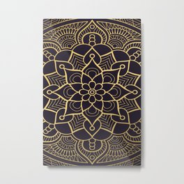 PURPLE & GOLD MANDALA Metal Print