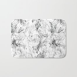 lily sketch black and white pattern Bath Mat