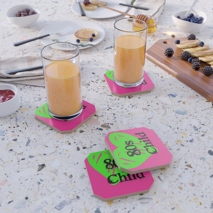 80s Child Pink and Green Fluorescence Coaster