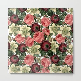 Vintage & Shabby Chic - Pink and Red Roses Retro Flower Garden Pattern Metal Print