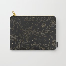 Gold foil floral pattern and geometric triangles on grey Carry-All Pouch