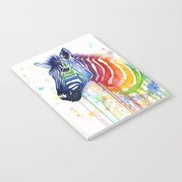 Zebra Rainbow Watercolor Whimsical Animal Notebook