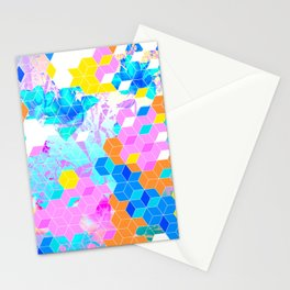 Pop Floral Cube Pattern 1 #fashion #pattern #lifestyle Stationery Cards