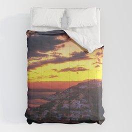 Sunset over Roses, Costa Brava, Cataluna, Spain Comforters