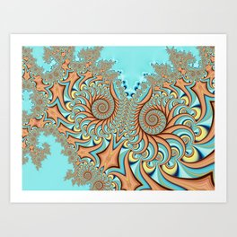 Owl Fractal Turquoise and Orange Art Print