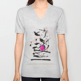 black pink abstract painting Unisex V-Neck