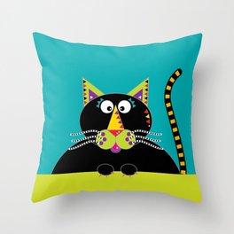 Cross-eyed kitty cat Throw Pillow