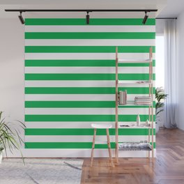 Horizontal Green Stripes Wall Mural