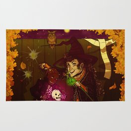 Witch and Wizard of Halloween Rug