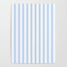 Mattress Ticking Wide Striped Pattern in Pale Blue and White Poster