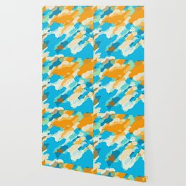 blue orange and brown dirty painting abstract background Wallpaper
