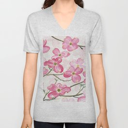Pink Dogwood Unisex V-Neck