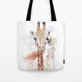 "Watercolor Painting of Picture ""Portrait of a Giraffe"" Tote Bag"