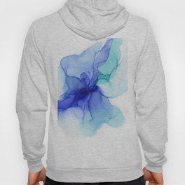 Blue Floral Abstract Ink Hoody