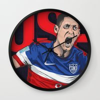 world cup Wall Clocks featuring USA World Cup 2014 by TheColorK