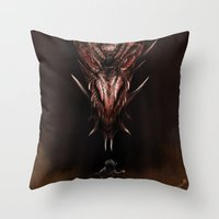 smaug Throw Pillows featuring Smaug And The Thief by Andy Fairhurst Art