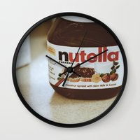 nutella Wall Clocks featuring Nutella by Danielle Clark