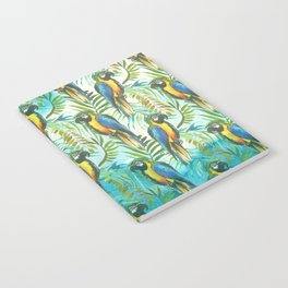 Watercolor blue yellow tropical parrot bird floral Notebook