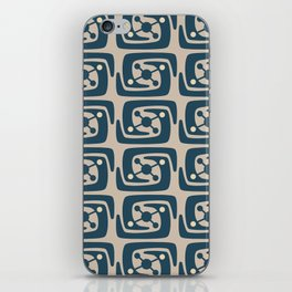 Mid Century Modern Galaxy Pattern Peacock Blue and Beige iPhone Skin