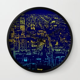 Chicago city lights at night Wall Clock