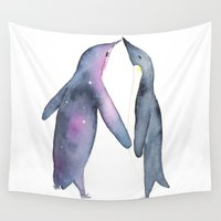 penguins Wall Tapestries featuring Penguins by Kelly McTavish
