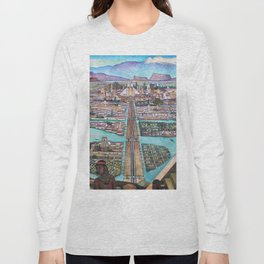Mural of the Aztec city of Tenochtitlan by Diego Rivera Long Sleeve T-shirt