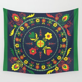 Folk Flowers with Green  Border Wall Tapestry