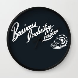 Business Industry Labor in White with Gears Wall Clock