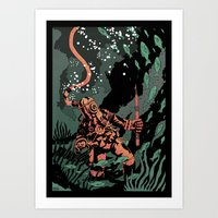 diver Art Prints featuring Diver by Rafael T. Pimentel