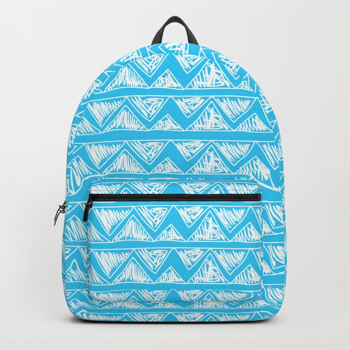 Simple Geometric Zig Zag Pattern - White on Teal - Mix & Match with Simplicity of life Backpack