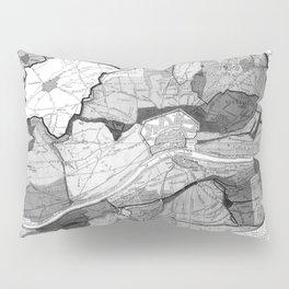 Vintage Map of Frankfurt Germany (1905) BW Pillow Sham