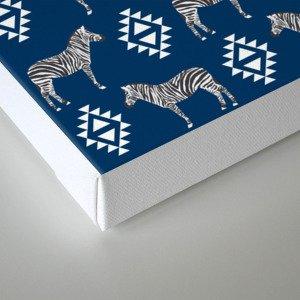 Zebra minimal navy and white modern pattern basic home dorm decor nursery Canvas Print