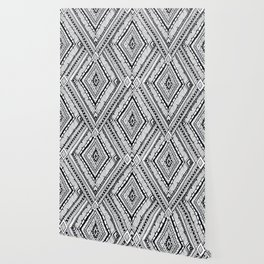 Black and white drawing tribal doddle rhombus background. Wallpaper