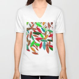 colored leaves Unisex V-Neck