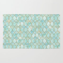Luxury Aqua and Gold oriental pattern Rug