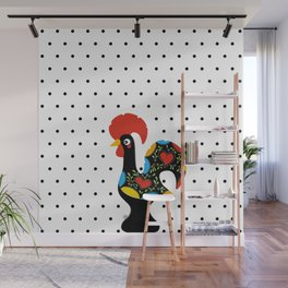 Famous Rooster Lucky Charm & Polka Dots Wall Mural