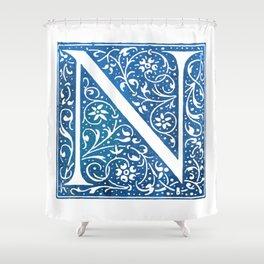 Letter N Antique Floral Letterpress Shower Curtain
