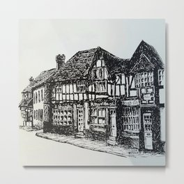 Black and white historic Tudor buildings Midhurst Metal Print