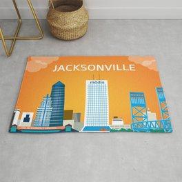 Jacksonville, Florida - Skyline Illustration by Loose Petals Rug