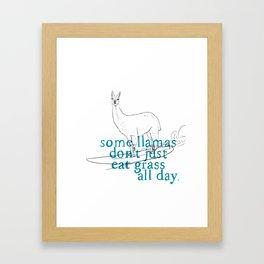 Surfing Lama Framed Art Print