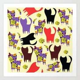 Cats pattern #4W Art Print