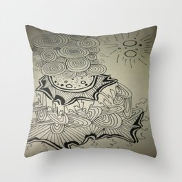 Ink Doodle Sprial Design Throw Pillow