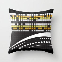 Abstract Crossword Puzzle Squares on Black Throw Pillow
