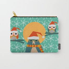 Christmas bear and two little owls Carry-All Pouch