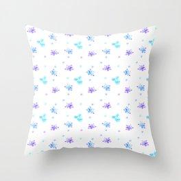 Watercolor Floral Print (blue + violet) Throw Pillow